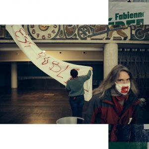 photo occupation de la comédie culture en danger 63 et banderoles