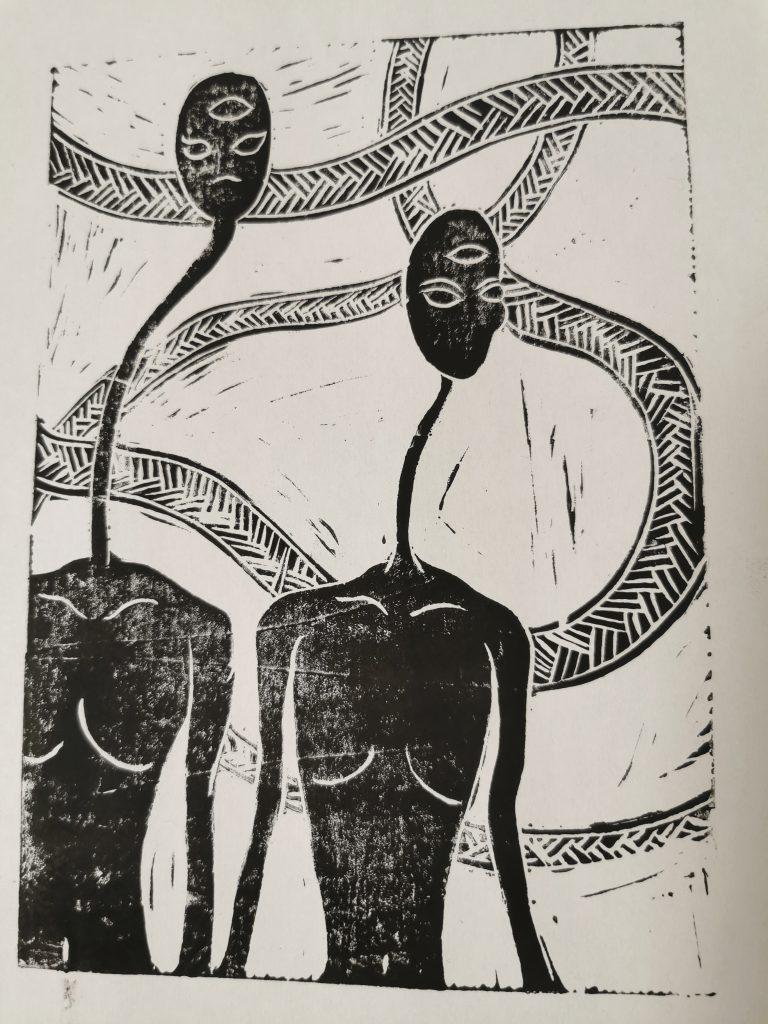 Deux silhouettes a long cou linogravure