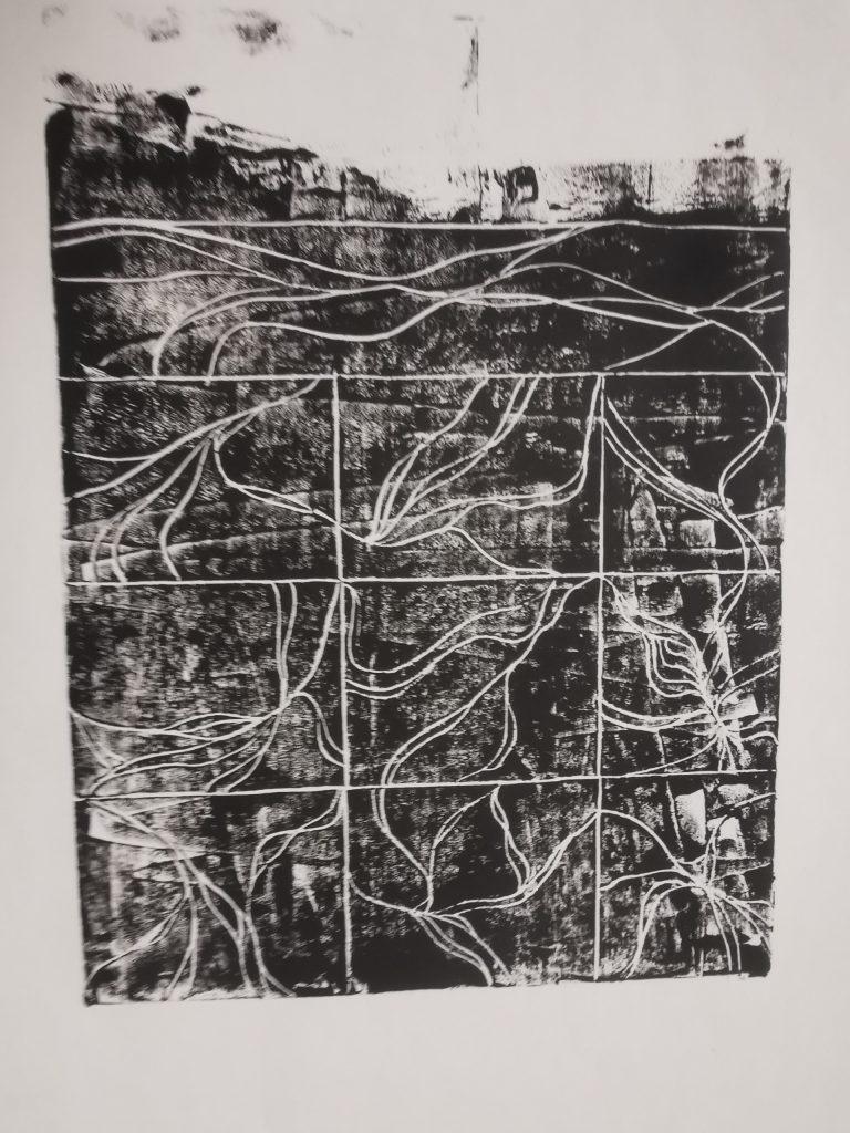 Linogravure noire carré